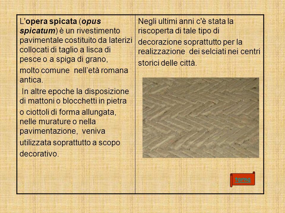 L opera spicata (opus spicatum) è un rivestimento pavimentale costituito da laterizi collocati di taglio a lisca di pesce o a spiga di grano, molto comune nelletà romana antica.