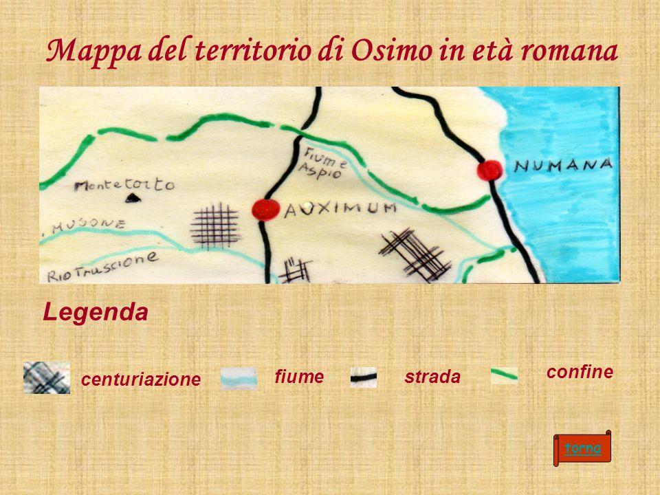 Mappa del territorio di Osimo in età romana Legenda centuriazione fiumestrada torna confine
