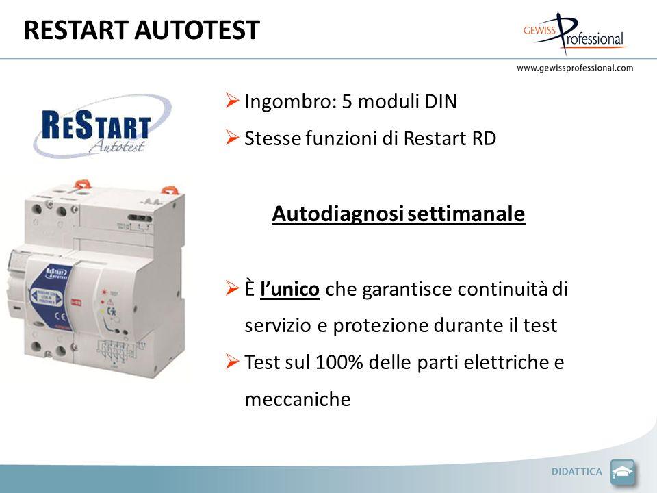 RESTART AUTOTEST Ingombro: 5 moduli DIN Stesse funzioni di Restart RD Autodiagnosi settimanale È lunico che garantisce continuità di servizio e protezione durante il test Test sul 100% delle parti elettriche e meccaniche