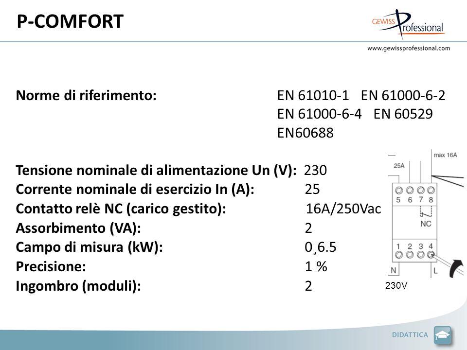 P-COMFORT Norme di riferimento:EN 61010-1 EN 61000-6-2 EN 61000-6-4 EN 60529 EN60688 Tensione nominale di alimentazione Un (V): 230 Corrente nominale di esercizio In (A): 25 Contatto relè NC (carico gestito): 16A/250Vac Assorbimento (VA): 2 Campo di misura (kW): 0¸6.5 Precisione: 1 % Ingombro (moduli): 2 230V