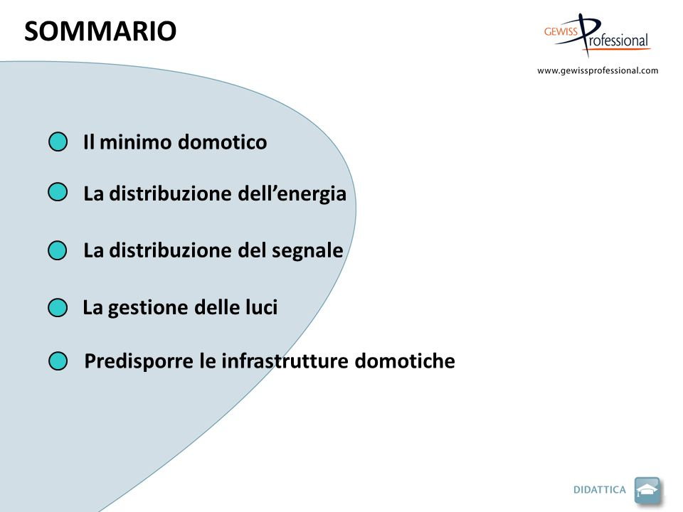 Il minimo domotico La distribuzione del segnale La distribuzione dellenergia La gestione delle luci Predisporre le infrastrutture domotiche SOMMARIO