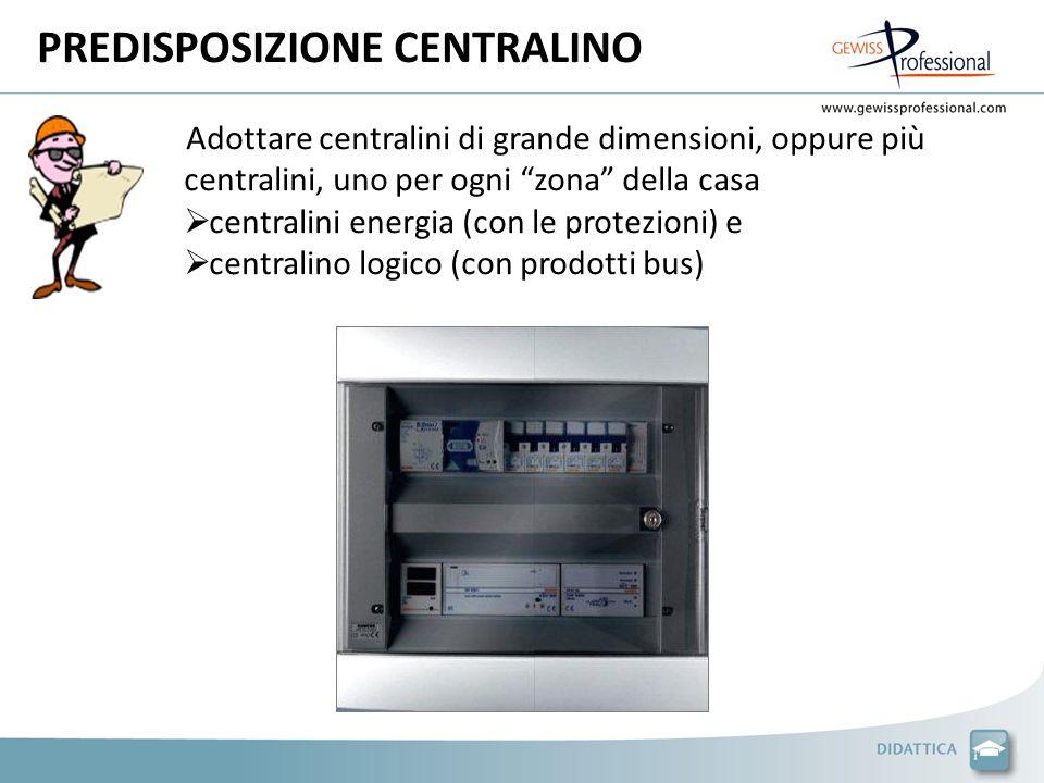 PREDISPOSIZIONE CENTRALINO Adottare centralini di grande dimensioni, oppure più centralini, uno per ogni zona della casa centralini energia (con le protezioni) e centralino logico (con prodotti bus)