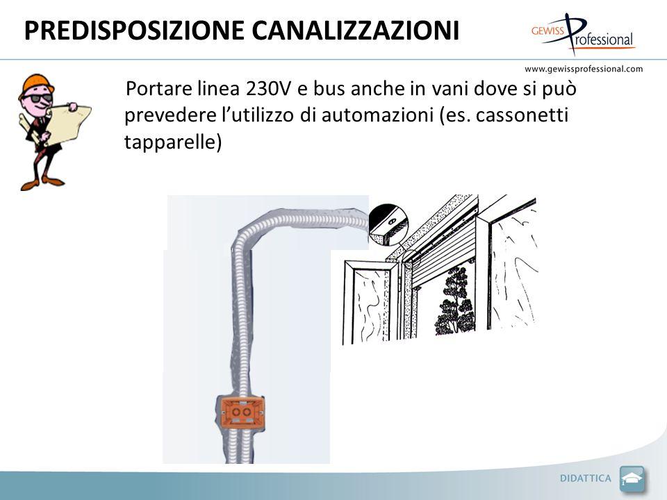 PREDISPOSIZIONE CANALIZZAZIONI Portare linea 230V e bus anche in vani dove si può prevedere lutilizzo di automazioni (es.