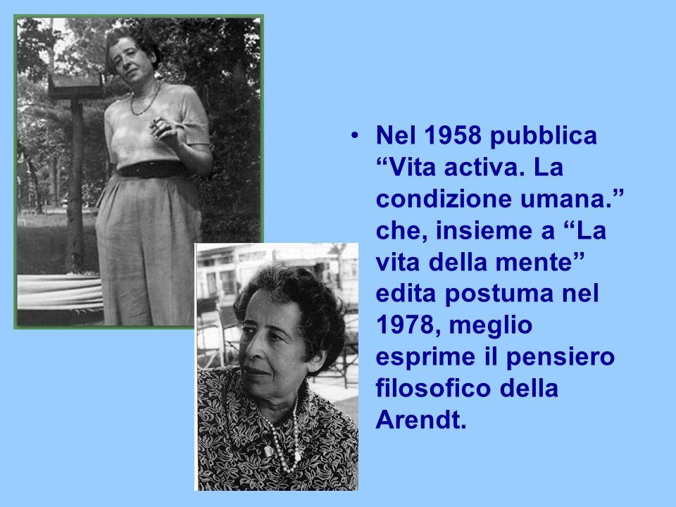 Nel 1958 pubblica Vita activa.La condizione umana.