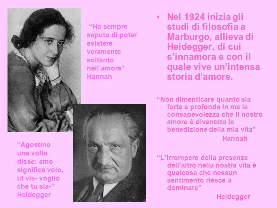 Nel 1924 inizia gli studi di filosofia a Marburgo, allieva di Heidegger, di cui sinnamora e con il quale vive unintensa storia damore.