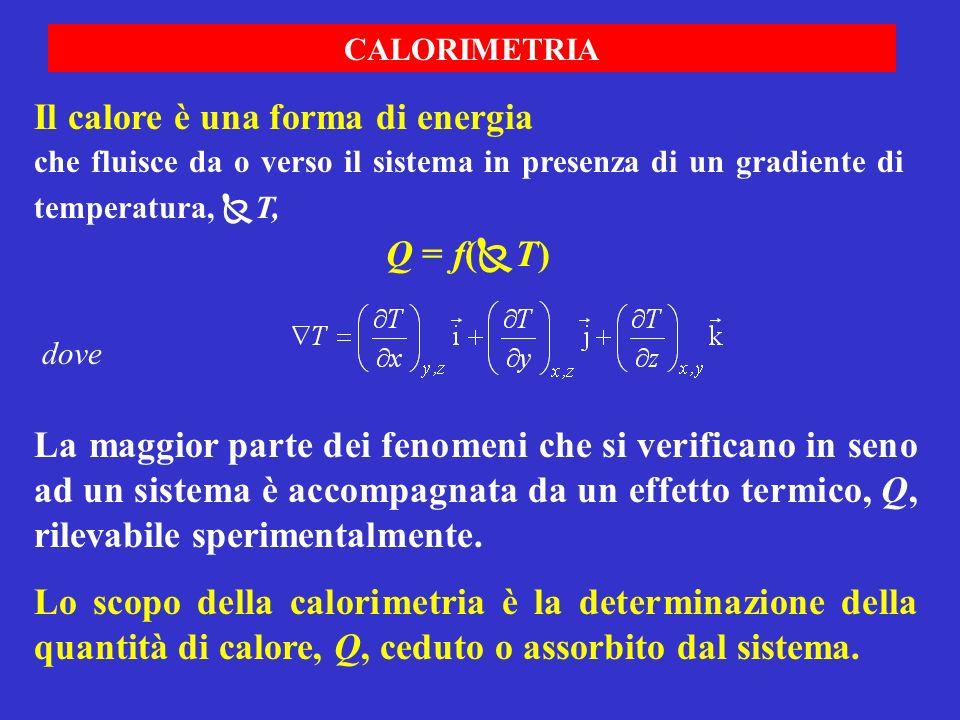CALORIMETRIA La maggior parte dei fenomeni che si verificano in seno ad un sistema è accompagnata da un effetto termico, Q, rilevabile sperimentalment