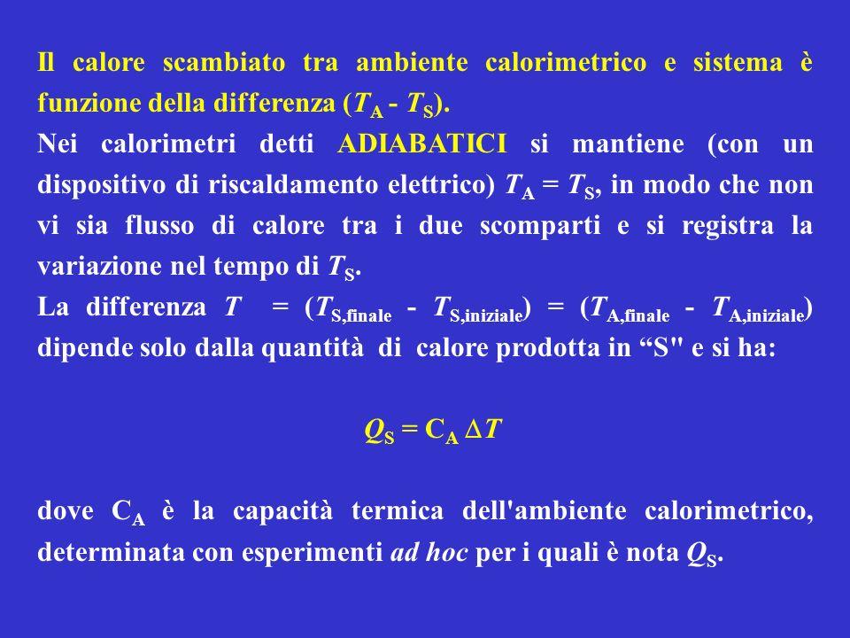 Il calore scambiato tra ambiente calorimetrico e sistema è funzione della differenza (T A - T S ). Nei calorimetri detti ADIABATICI si mantiene (con u