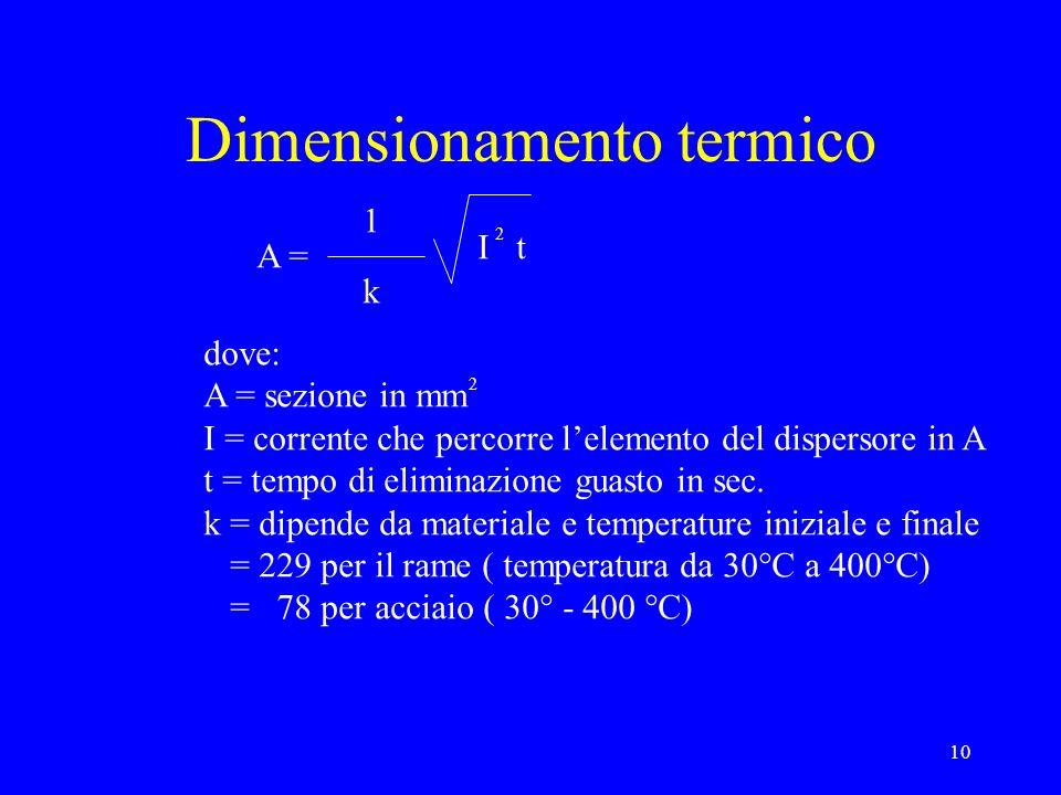 10 Dimensionamento termico A = 1 k I t 2 dove: A = sezione in mm I = corrente che percorre lelemento del dispersore in A t = tempo di eliminazione guasto in sec.