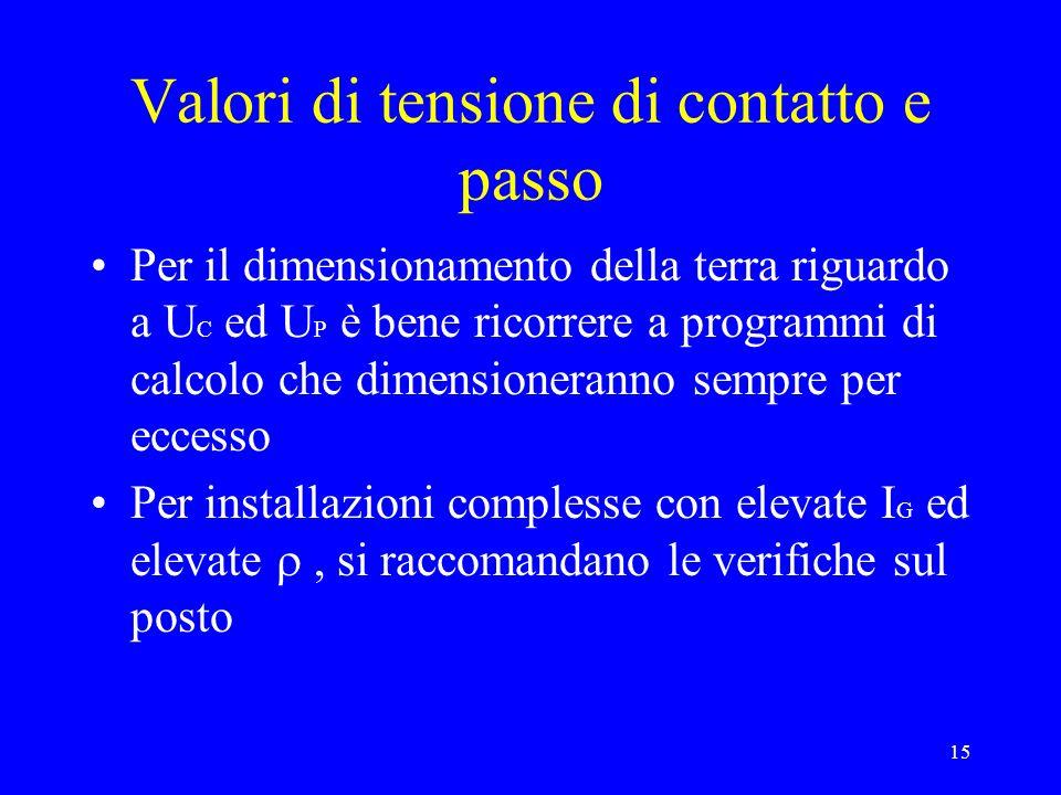 15 Valori di tensione di contatto e passo Per il dimensionamento della terra riguardo a U C ed U P è bene ricorrere a programmi di calcolo che dimensi