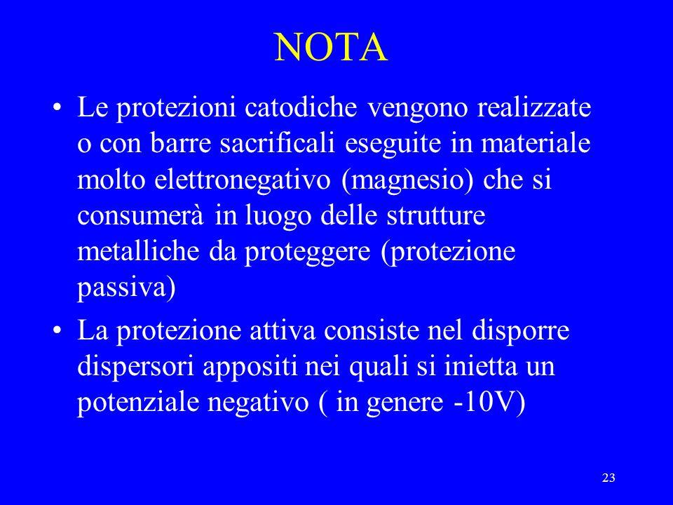 23 NOTA Le protezioni catodiche vengono realizzate o con barre sacrificali eseguite in materiale molto elettronegativo (magnesio) che si consumerà in