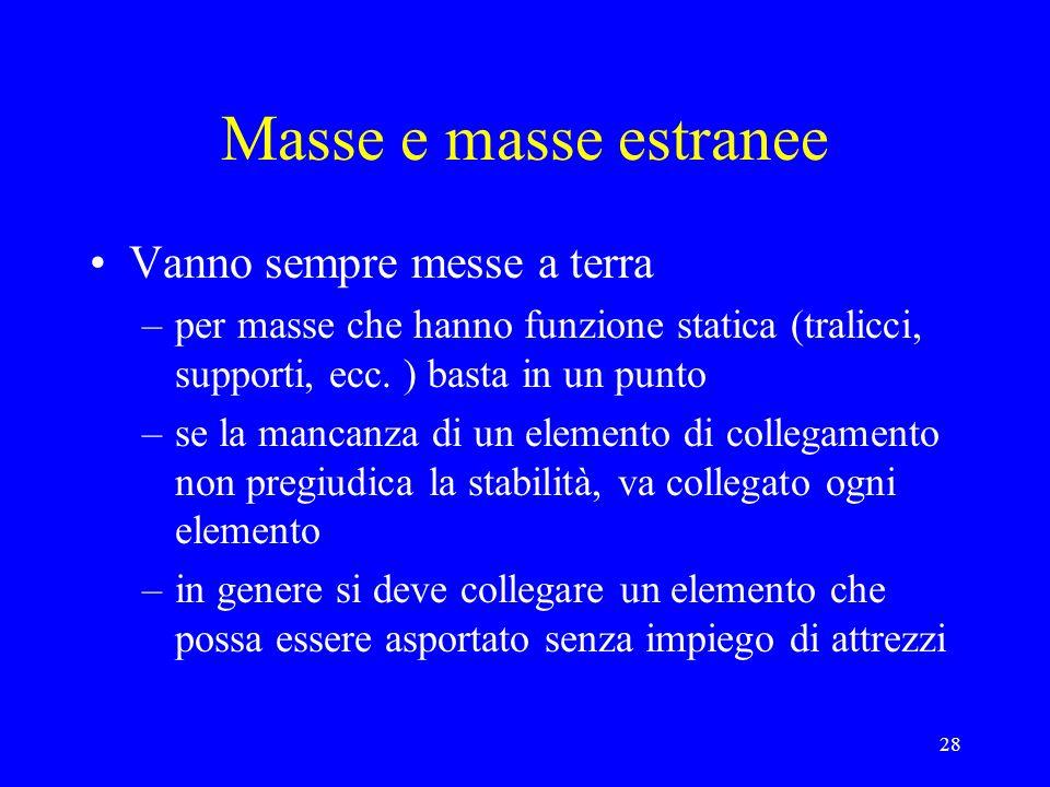 28 Masse e masse estranee Vanno sempre messe a terra –per masse che hanno funzione statica (tralicci, supporti, ecc. ) basta in un punto –se la mancan