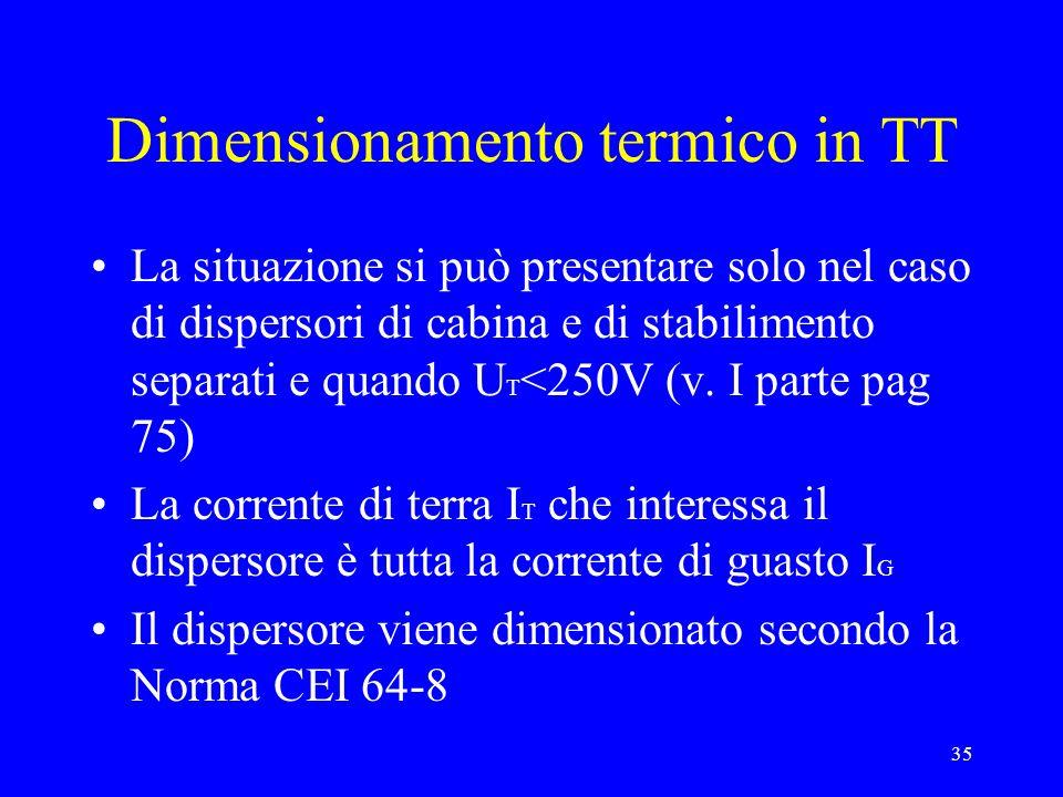 35 Dimensionamento termico in TT La situazione si può presentare solo nel caso di dispersori di cabina e di stabilimento separati e quando U T <250V (v.