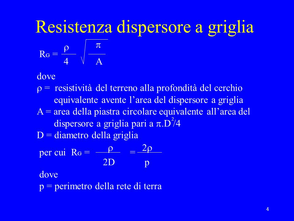 4 Resistenza dispersore a griglia R G = 4 A dove = resistività del terreno alla profondità del cerchio equivalente avente larea del dispersore a griglia A = area della piastra circolare equivalente allarea del dispersore a griglia pari a.D /4 D = diametro della griglia 2 per cui R G = 2D = p dove p = perimetro della rete di terra