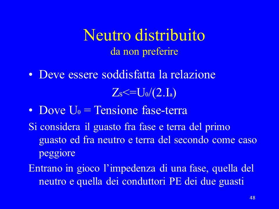 48 Neutro distribuito da non preferire Deve essere soddisfatta la relazione Z S <=U 0 /(2.I a ) Dove U 0 = Tensione fase-terra Si considera il guasto