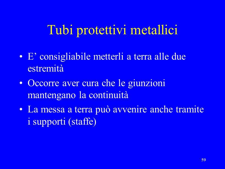 59 Tubi protettivi metallici E consigliabile metterli a terra alle due estremità Occorre aver cura che le giunzioni mantengano la continuità La messa