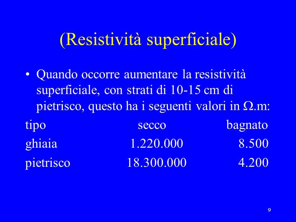 9 (Resistività superficiale) Quando occorre aumentare la resistività superficiale, con strati di 10-15 cm di pietrisco, questo ha i seguenti valori in.m: tipo secco bagnato ghiaia 1.220.000 8.500 pietrisco 18.300.000 4.200