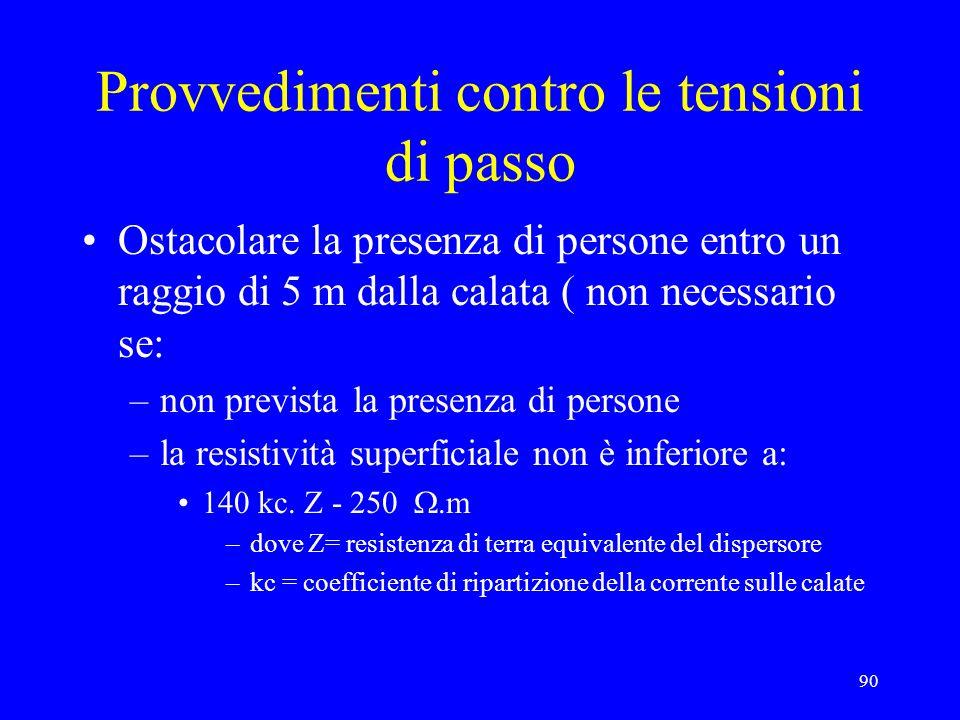 90 Provvedimenti contro le tensioni di passo Ostacolare la presenza di persone entro un raggio di 5 m dalla calata ( non necessario se: –non prevista la presenza di persone –la resistività superficiale non è inferiore a: 140 kc.