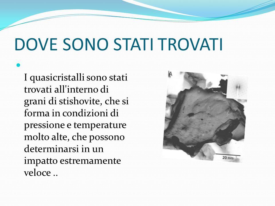 DOVE SONO STATI TROVATI I quasicristalli sono stati trovati all'interno di grani di stishovite, che si forma in condizioni di pressione e temperature