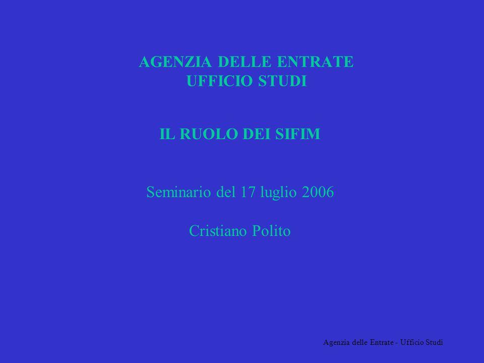 Agenzia delle Entrate - Ufficio Studi AGENZIA DELLE ENTRATE UFFICIO STUDI IL RUOLO DEI SIFIM Seminario del 17 luglio 2006 Cristiano Polito