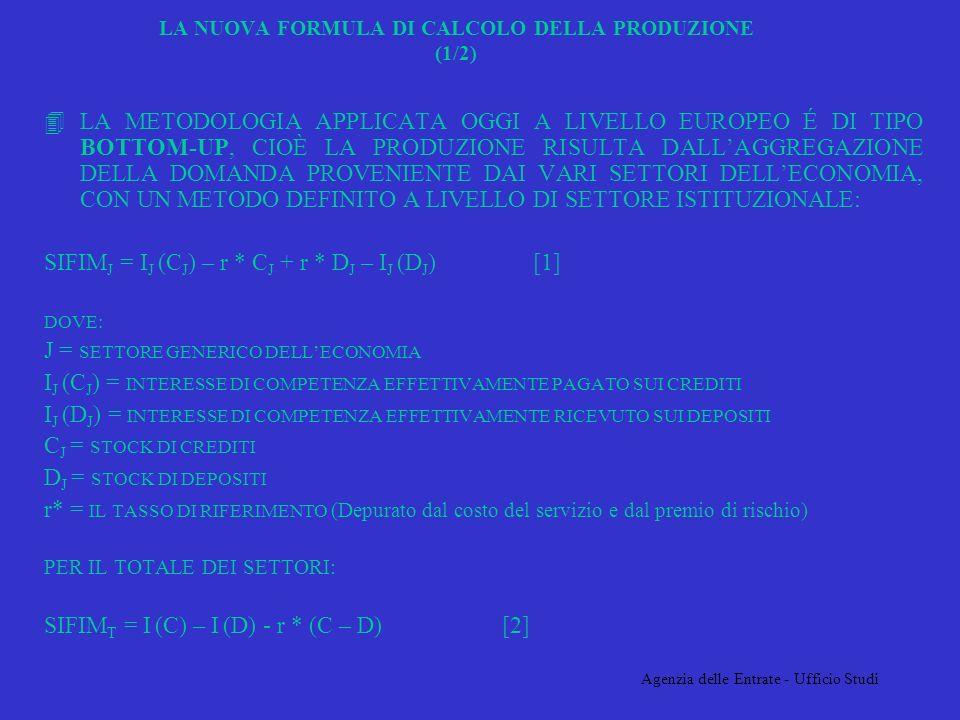 Agenzia delle Entrate - Ufficio Studi LA NUOVA FORMULA DI CALCOLO DELLA PRODUZIONE (1/2) 4LA METODOLOGIA APPLICATA OGGI A LIVELLO EUROPEO É DI TIPO BOTTOM-UP, CIOÈ LA PRODUZIONE RISULTA DALLAGGREGAZIONE DELLA DOMANDA PROVENIENTE DAI VARI SETTORI DELLECONOMIA, CON UN METODO DEFINITO A LIVELLO DI SETTORE ISTITUZIONALE: SIFIM J = I J (C J ) – r * C J + r * D J – I J (D J ) [1] DOVE: J = SETTORE GENERICO DELLECONOMIA I J (C J ) = INTERESSE DI COMPETENZA EFFETTIVAMENTE PAGATO SUI CREDITI I J (D J ) = INTERESSE DI COMPETENZA EFFETTIVAMENTE RICEVUTO SUI DEPOSITI C J = STOCK DI CREDITI D J = STOCK DI DEPOSITI r* = IL TASSO DI RIFERIMENTO (Depurato dal costo del servizio e dal premio di rischio) PER IL TOTALE DEI SETTORI: SIFIM T = I (C) – I (D) - r * (C – D) [2]