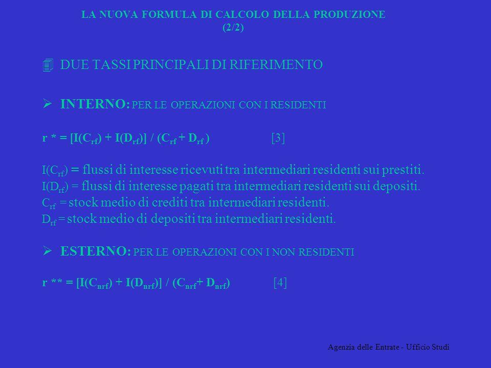 Agenzia delle Entrate - Ufficio Studi 4DUE TASSI PRINCIPALI DI RIFERIMENTO INTERNO: PER LE OPERAZIONI CON I RESIDENTI r * = [I(C rf ) + I(D rf )] / (C rf + D rf ) [3] I(C rf ) = flussi di interesse ricevuti tra intermediari residenti sui prestiti.