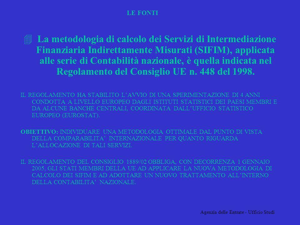 Agenzia delle Entrate - Ufficio Studi LE FONTI 4 La metodologia di calcolo dei Servizi di Intermediazione Finanziaria Indirettamente Misurati (SIFIM), applicata alle serie di Contabilità nazionale, è quella indicata nel Regolamento del Consiglio UE n.