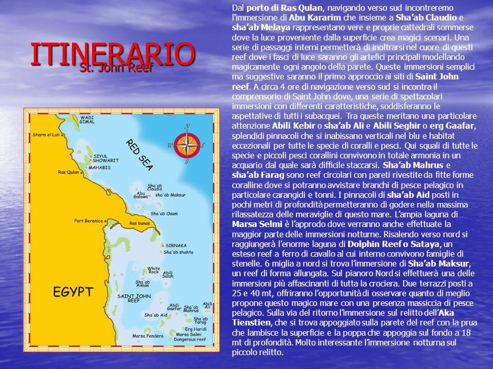 ITINERARIO St. John Reef St. John Reef Dal porto di Ras Qulan, navigando verso sud incontreremo l'immersione di Abu Kararim che insieme a Shaab Claudi