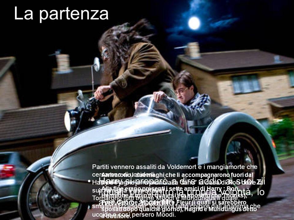 La partenza Harry si preparò a dire addio ai suoi zii i quali, pur contro la propria volontà, lo avevano accudito. Arrivarono i due maghi che li accom