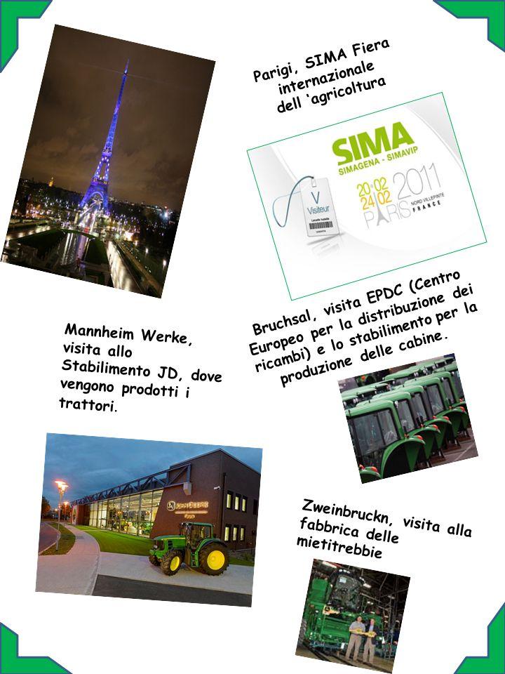Bruchsal, visita EPDC (Centro Europeo per la distribuzione dei ricambi) e lo stabilimento per la produzione delle cabine. Parigi, SIMA Fiera internazi
