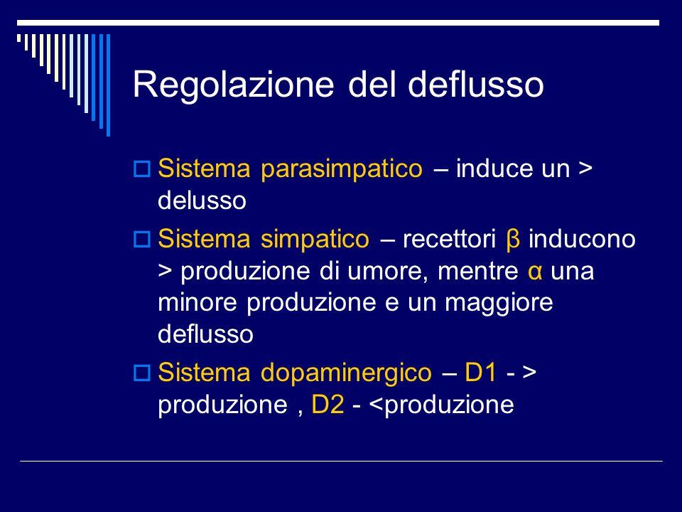 Regolazione del deflusso Sistema parasimpatico – induce un > delusso Sistema simpatico – recettori β inducono > produzione di umore, mentre α una mino