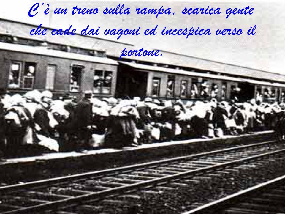 Cè un treno sulla rampa, scarica gente che cade dai vagoni ed incespica verso il portone.