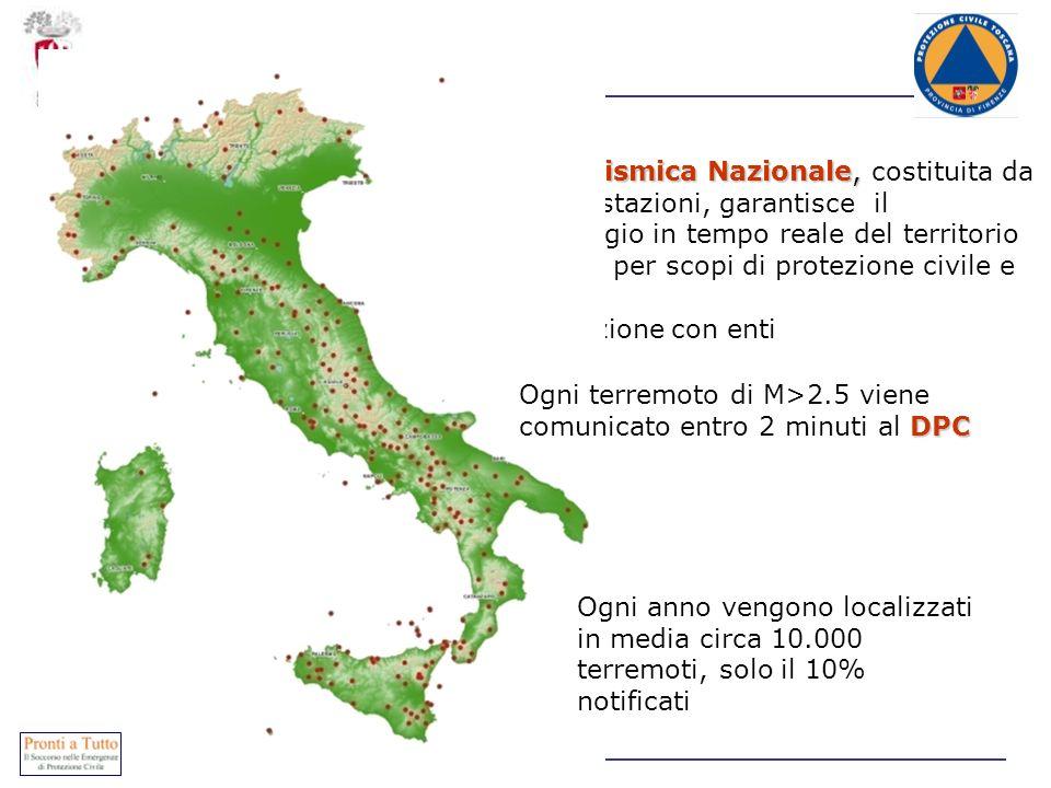 Rete Sismica Nazionale, La Rete Sismica Nazionale, costituita da circa 250 stazioni, garantisce il monitoraggio in tempo reale del territorio nazional