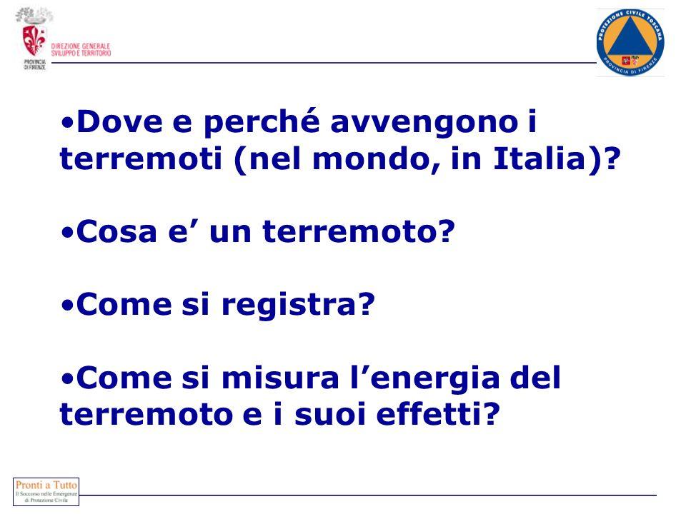 Dove e perché avvengono i terremoti (nel mondo, in Italia)? Cosa e un terremoto? Come si registra? Come si misura lenergia del terremoto e i suoi effe