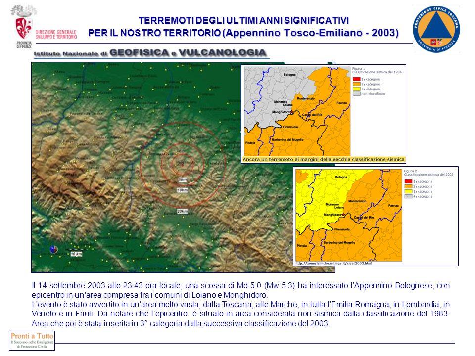TERREMOTI DEGLI ULTIMI ANNI SIGNIFICATIVI PER IL NOSTRO TERRITORIO (Appennino Tosco-Emiliano - 2003) Il 14 settembre 2003 alle 23.43 ora locale, una s