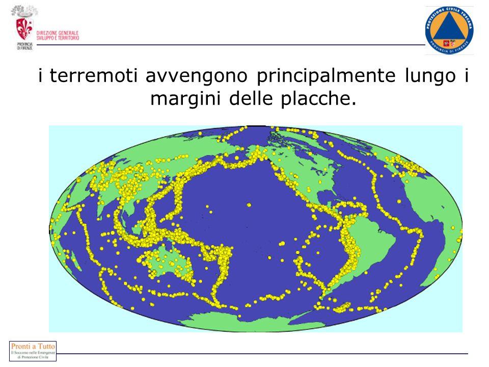 i terremoti avvengono principalmente lungo i margini delle placche.
