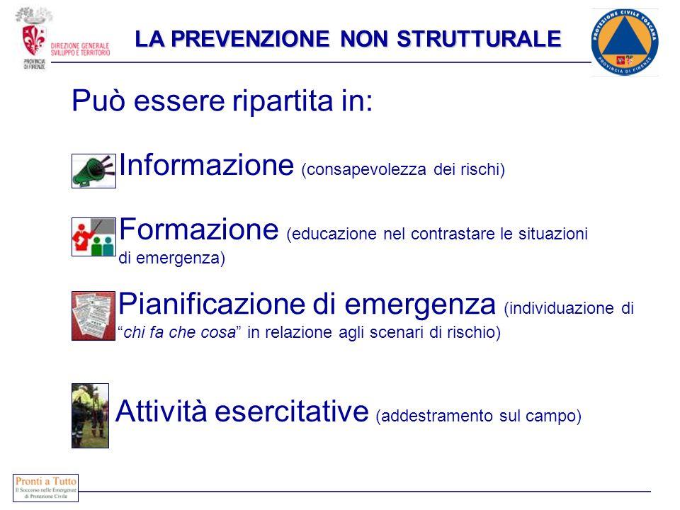LA PREVENZIONE NON STRUTTURALE Può essere ripartita in: Formazione (educazione nel contrastare le situazioni di emergenza) Pianificazione di emergenza
