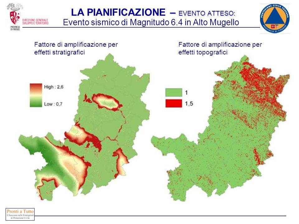 – EVENTO ATTESO: LA PIANIFICAZIONE – EVENTO ATTESO: Fattore di amplificazione per effetti stratigrafici Fattore di amplificazione per effetti topograf