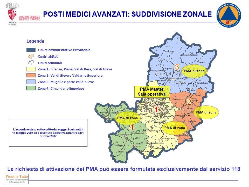 PMA Master Sala operativa PMA di zona La richiesta di attivazione dei PMA può essere formulata esclusivamente dal servizio 118 Laccordo è stato sottos