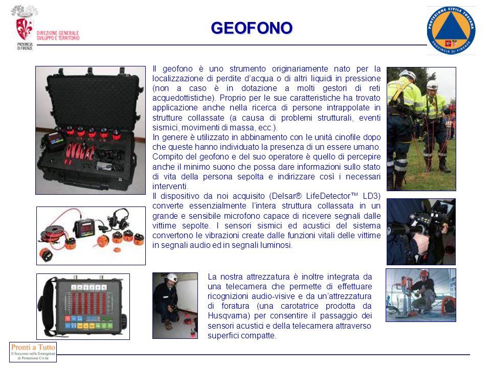 GEOFONO Il geofono è uno strumento originariamente nato per la localizzazione di perdite dacqua o di altri liquidi in pressione (non a caso è in dotaz