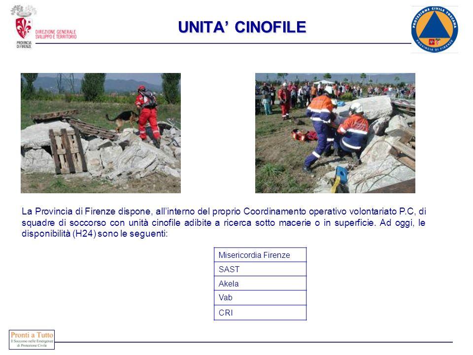 UNITA CINOFILE La Provincia di Firenze dispone, allinterno del proprio Coordinamento operativo volontariato P.C, di squadre di soccorso con unità cino
