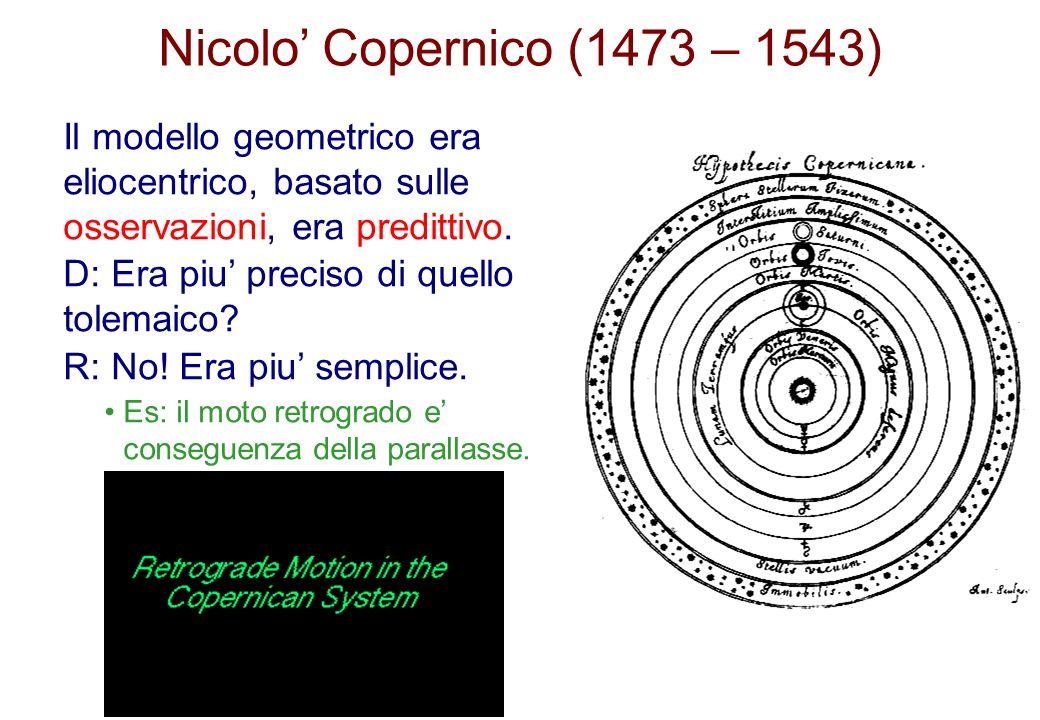 Nicolo Copernico (1473 – 1543) Il modello geometrico era eliocentrico, basato sulle osservazioni, era predittivo. D: Era piu preciso di quello tolemai