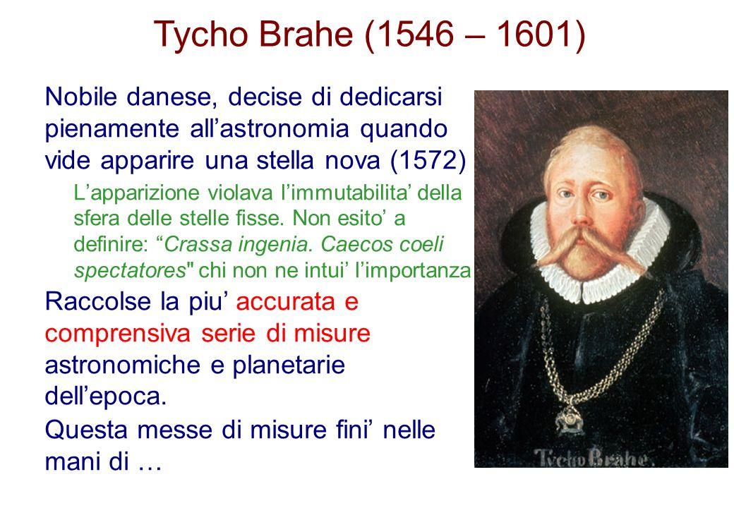 Tycho Brahe (1546 – 1601) Nobile danese, decise di dedicarsi pienamente allastronomia quando vide apparire una stella nova (1572) Lapparizione violava