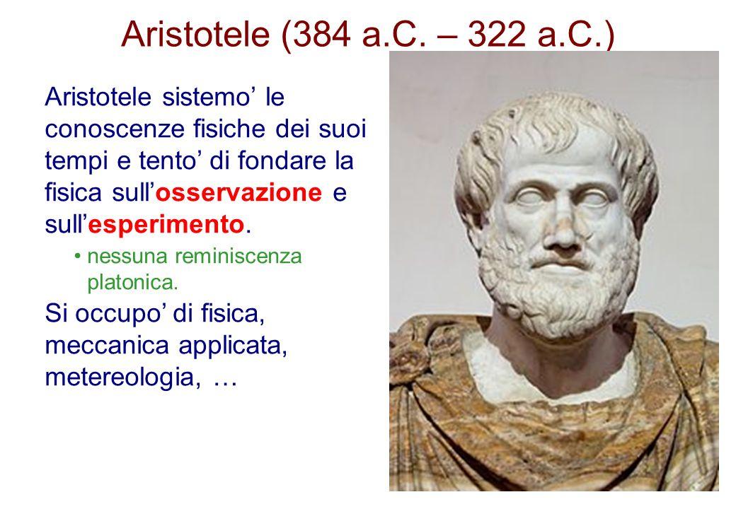 Aristotele (384 a.C. – 322 a.C.) Aristotele sistemo le conoscenze fisiche dei suoi tempi e tento di fondare la fisica sullosservazione e sullesperimen