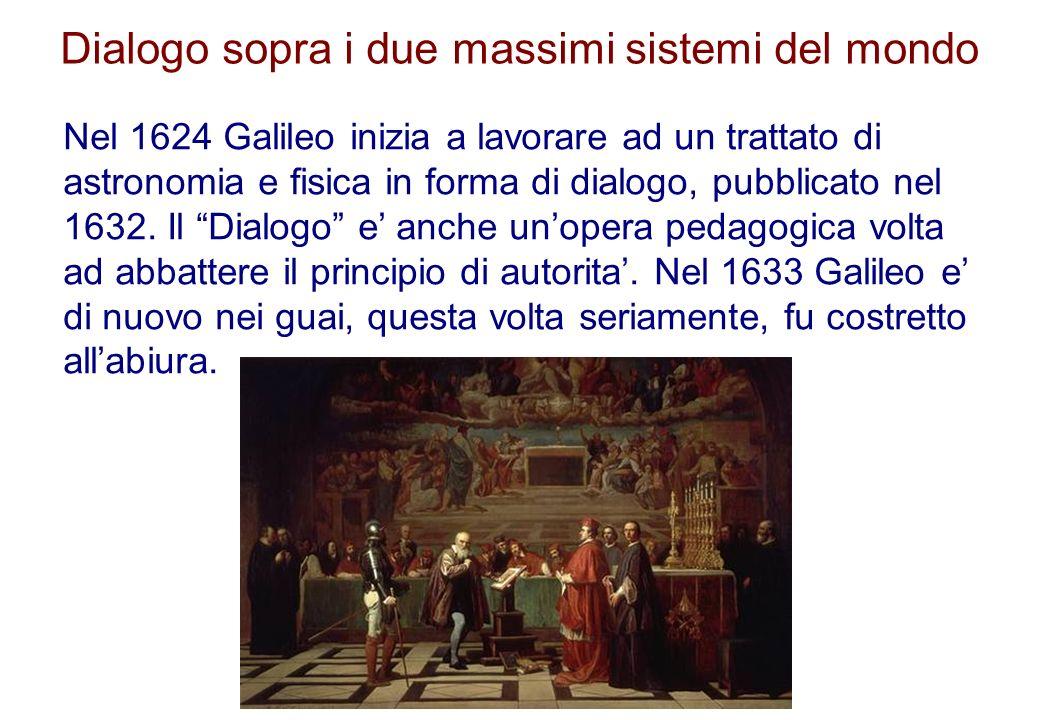 Dialogo sopra i due massimi sistemi del mondo Nel 1624 Galileo inizia a lavorare ad un trattato di astronomia e fisica in forma di dialogo, pubblicato