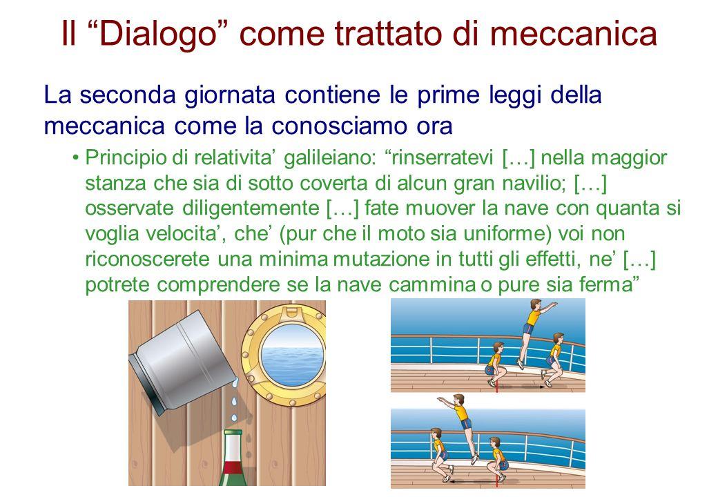 Il Dialogo come trattato di meccanica La seconda giornata contiene le prime leggi della meccanica come la conosciamo ora Principio di relativita galil