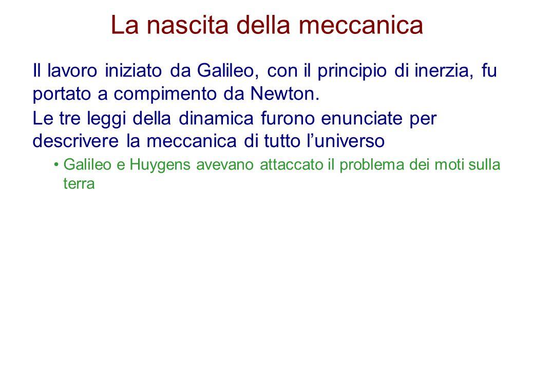 La nascita della meccanica Il lavoro iniziato da Galileo, con il principio di inerzia, fu portato a compimento da Newton. Le tre leggi della dinamica