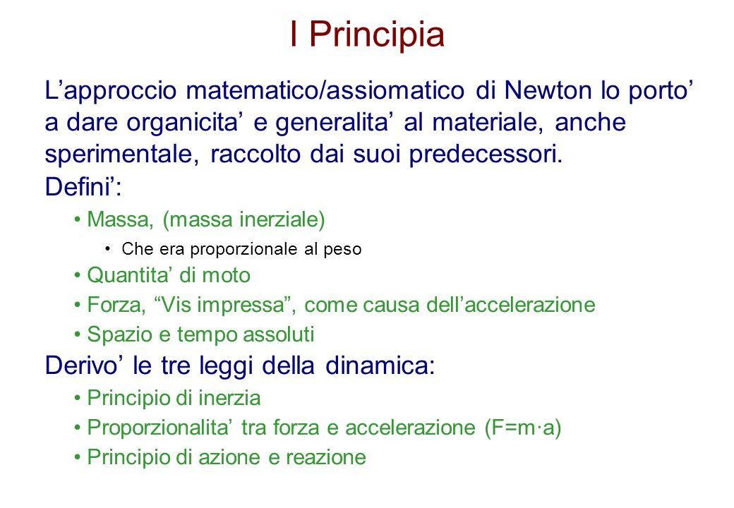 I Principia Lapproccio matematico/assiomatico di Newton lo porto a dare organicita e generalita al materiale, anche sperimentale, raccolto dai suoi pr