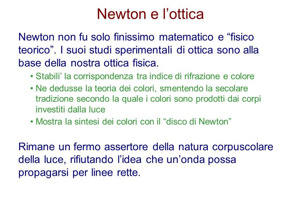 Newton e lottica Newton non fu solo finissimo matematico e fisico teorico. I suoi studi sperimentali di ottica sono alla base della nostra ottica fisi