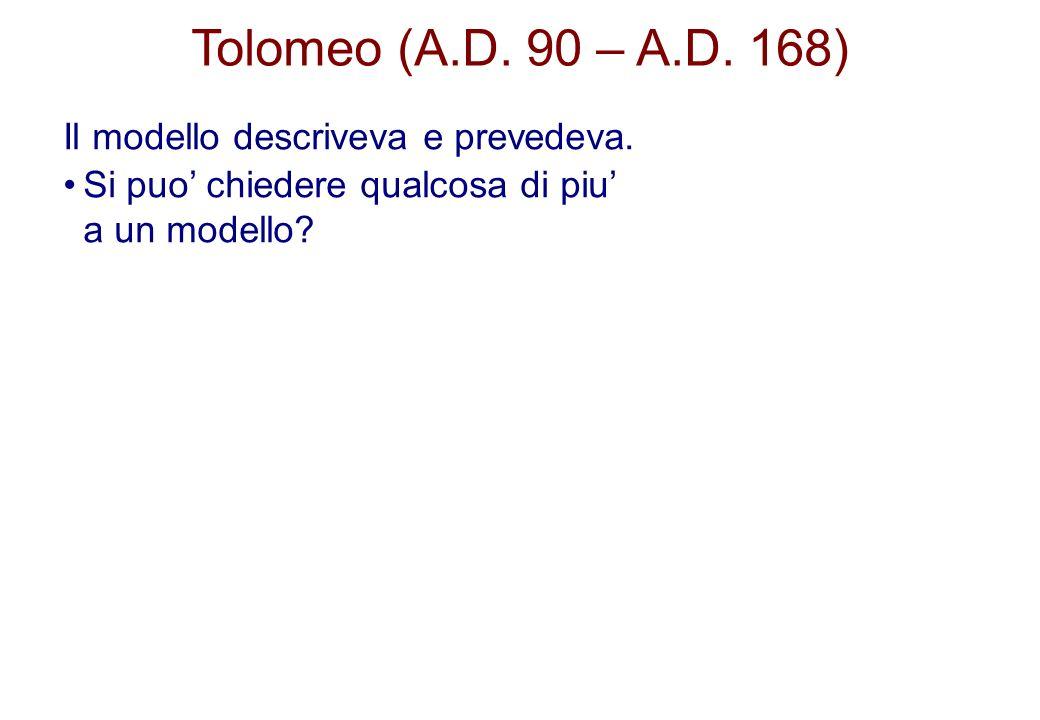 Tolomeo (A.D. 90 – A.D. 168) Il modello descriveva e prevedeva. Si puo chiedere qualcosa di piu a un modello?