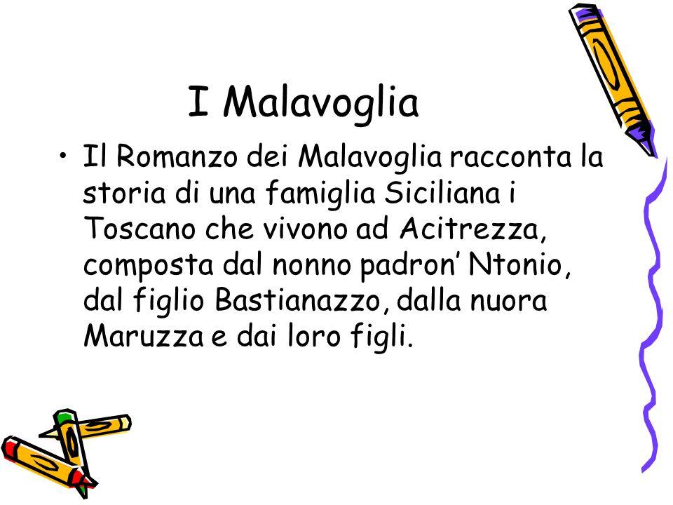 I Malavoglia Il Romanzo dei Malavoglia racconta la storia di una famiglia Siciliana i Toscano che vivono ad Acitrezza, composta dal nonno padron Ntonio, dal figlio Bastianazzo, dalla nuora Maruzza e dai loro figli.